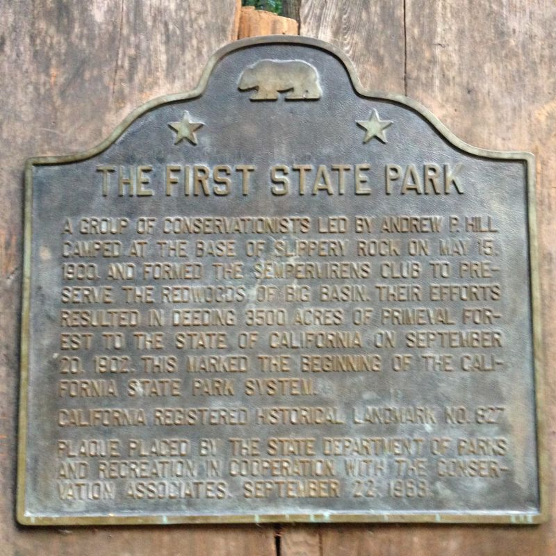 NO. 827 BIG BASIN REDWOODS STATE PARK - Plaque