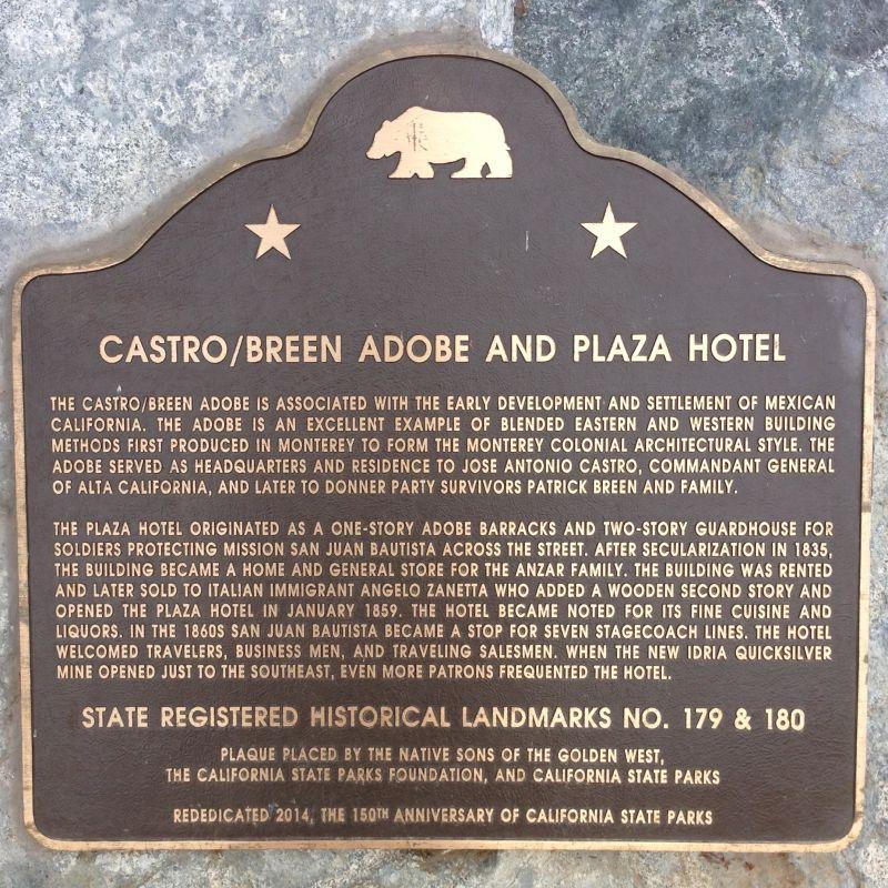 CHL #179 - Castro Breen Adobe - State Plaque