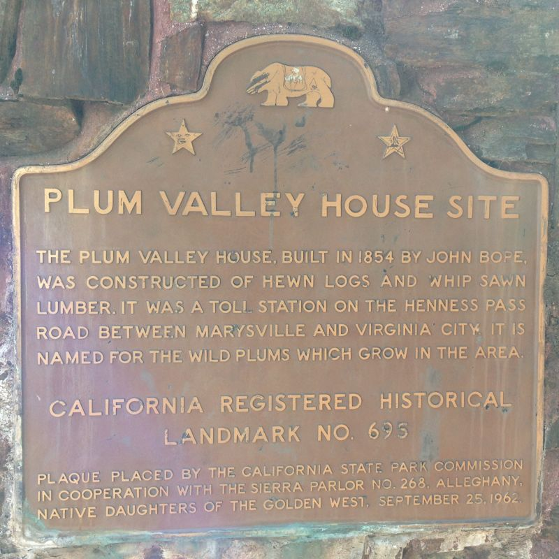 NO. 695 PLUM VALLEY HOUSE - State Plaque