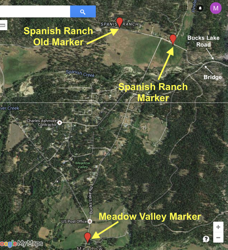 NO. 481 SPANISH RANCH AND MEADOW VALLEY - Map of Markers