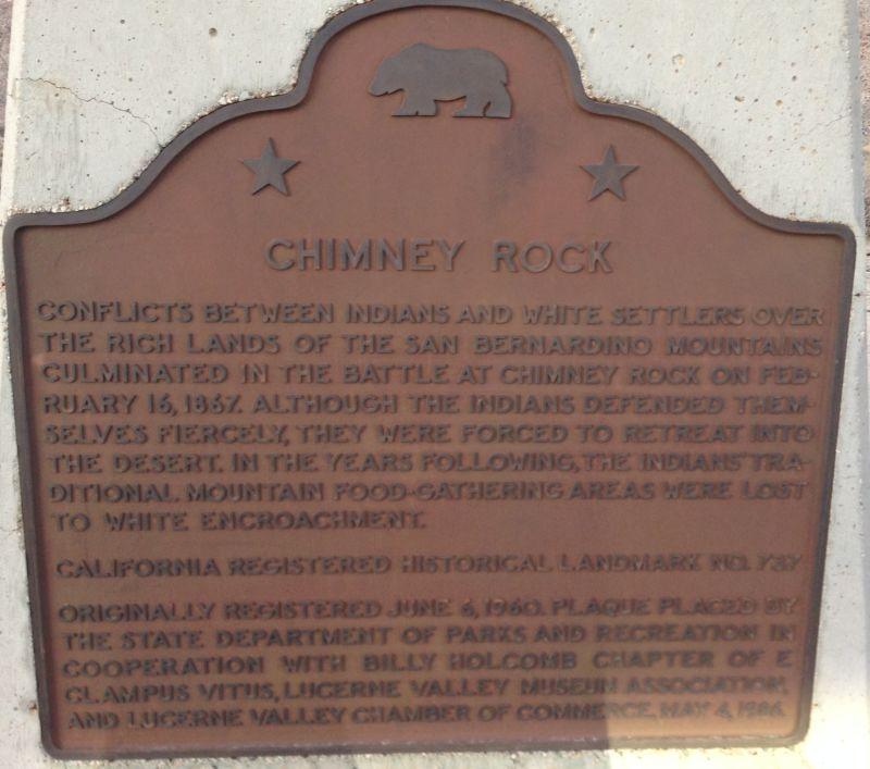 NO. 737 CHIMNEY ROCK - State Plaque