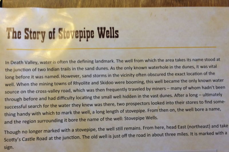 NO. 826 OLD STOVEPIPE WELLS - History