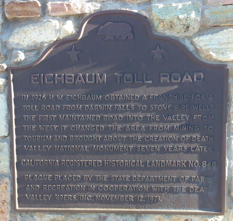 NO. 848 EICHBAUM TOLL ROAD - State Plaque
