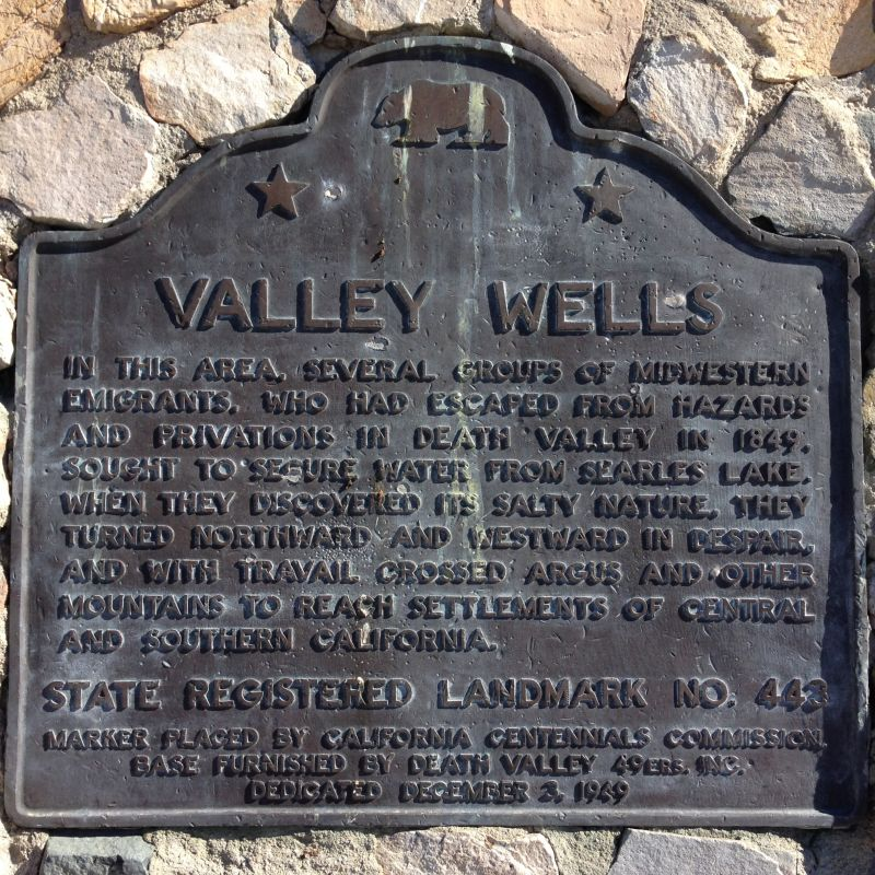 NO. 443 VALLEY WELLS - State Plaque