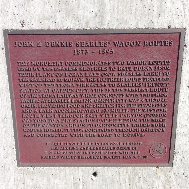 John & Dennis Seales' Wagon Route Plaque
