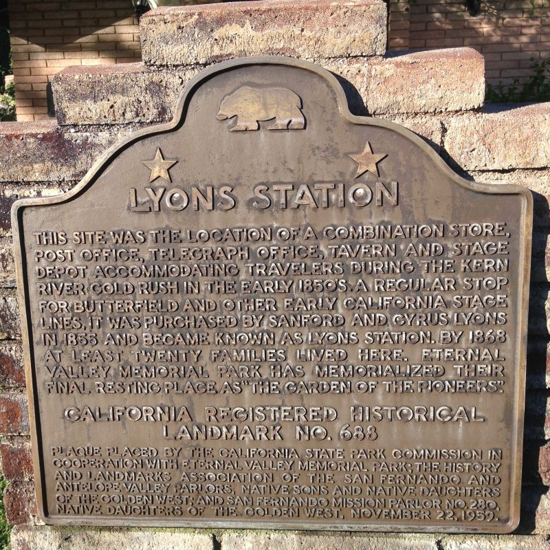 NO. 688 LYONS STATION STAGECOACH STOP - State Plaque