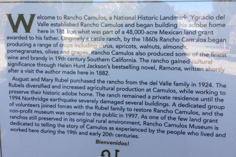 NO. 553 RANCHO CAMULOS - History