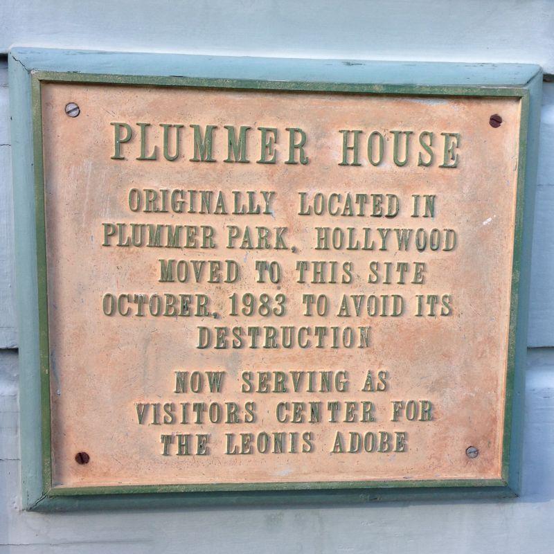 NO. 160 PLUMMER HOUSE - Relocation Plaque