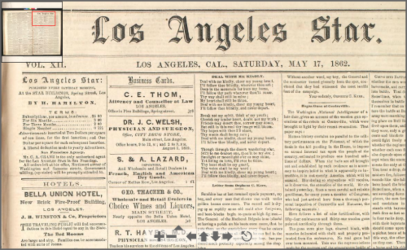 NO. 789 SITE OF THE LOS ANGELES STAR - May 17, 1862