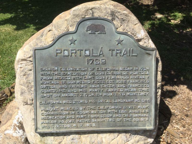 NO. 655 PORTOLÁ TRAIL CAMPSITE (I) - State Plaque