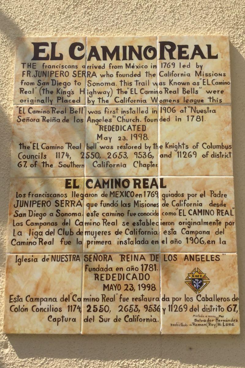 NO. 144 NUESTRA SEÑORA LA REINA DE LOS ANGELES - El Camino Real Plaque