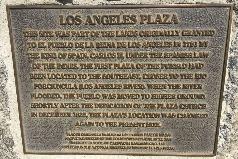 NO. 156 LOS ANGELES PLAZA - Plaque