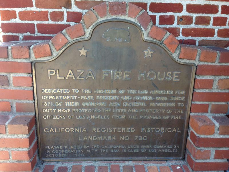 NO. 730 OLD PLAZA FIREHOUSE - State Plaque
