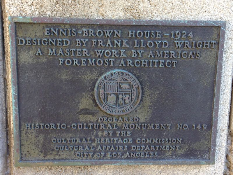 NO. 1011 FRANK LLOYD WRIGHT TEXTILE BLOCK HOUSES (THEMATIC), ENNIS HOUSE -Private Plaque