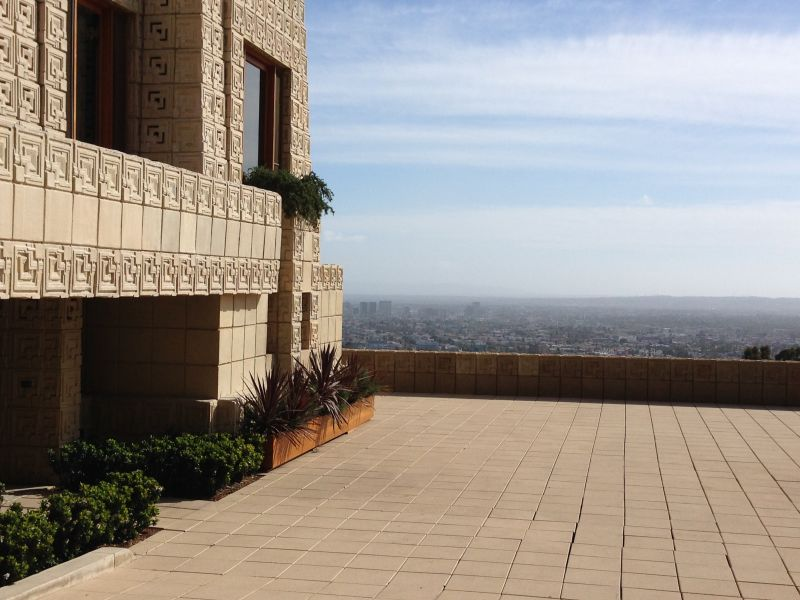 NO. 1011 FRANK LLOYD WRIGHT TEXTILE BLOCK HOUSES (THEMATIC), ENNIS HOUSE - View from Patio