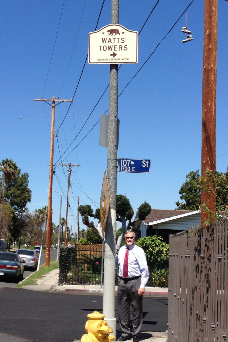 NO. 993 WATTS TOWERS OF SIMON RODIA - Street Sign
