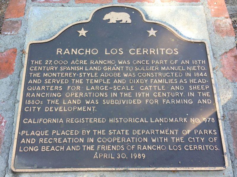 NO. 978 RANCHO LOS CERRITOS HISTORIC SITE - State Plaque