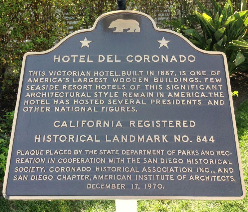 NO. 844 HOTEL DEL CORONADO - State Plaque