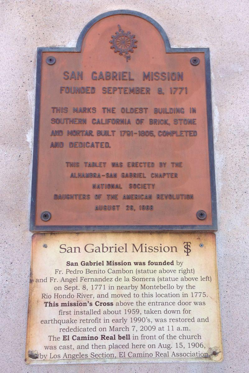CHL #158 Mission San Gabriel Arcángel - Private Plaque