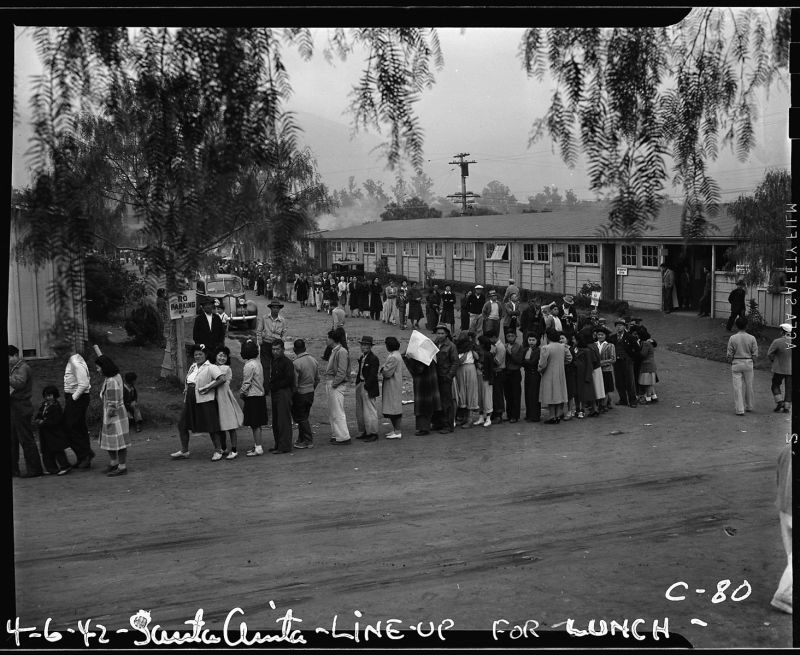 NO. 934  SANTA ANITA ASSEMBLY CENTER - 1940's, lining up for lunch