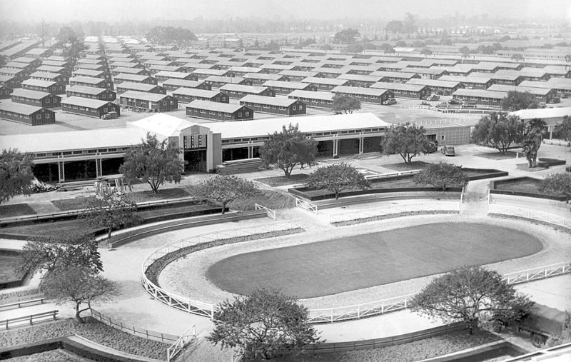 NO. 934  SANTA ANITA ASSEMBLY CENTER - 1940's barracks behind grandstand