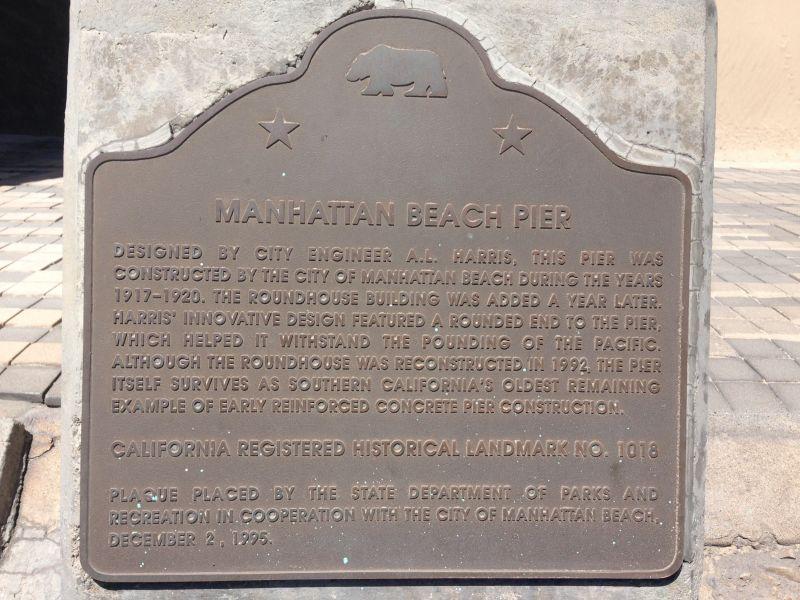 NO. 1018 MANHATTAN BEACH STATE PIER - State Plaque