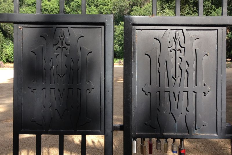 "NO. 205 MODJESKA'S HOME - Driveway Gates With Modjeska's Monogram, ""HM""."