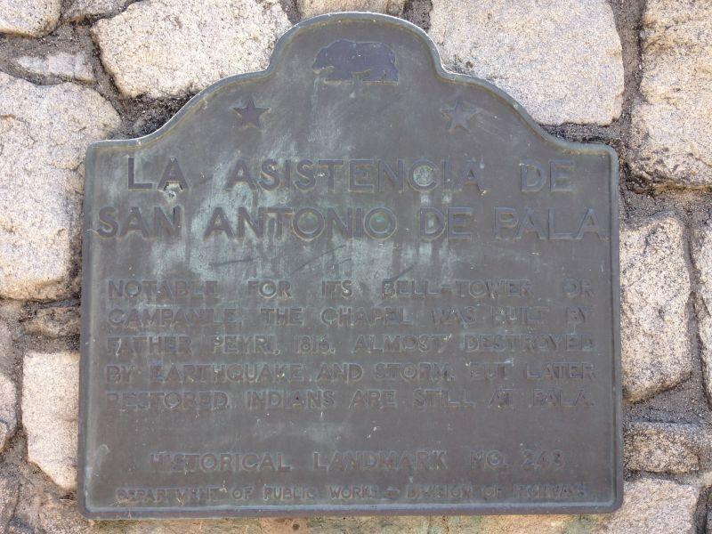 NO. 243 ASISTENCIA SAN ANTONIO DE PALA - State Plaque