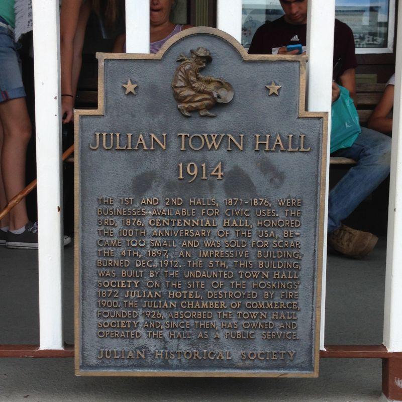NO. 412 JULIAN - Town Hall Plaque