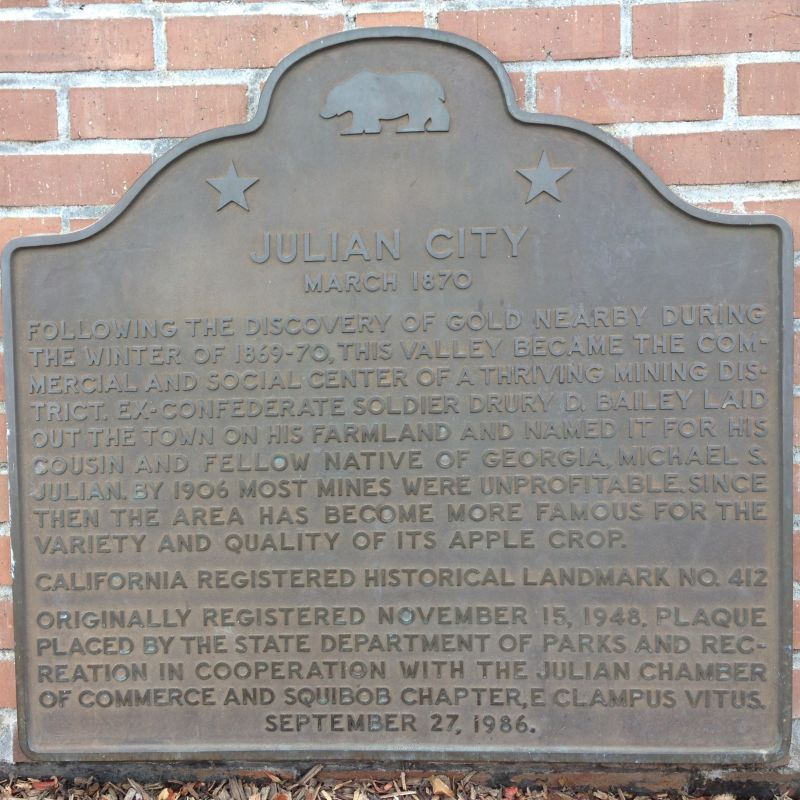 NO. 412 JULIAN - State Plaque