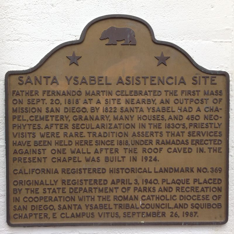 NO. 369 CHAPEL OF SANTA YSABEL (SITE OF) - State Plaque