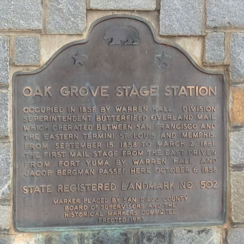 NO. 502 OAK GROVE STAGE STATION - State Plaque