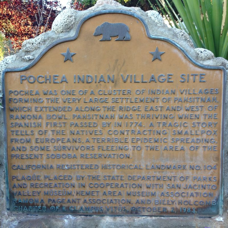 NO. 104 SITE OF INDIAN VILLAGE OF POCHEA -  State Plaque