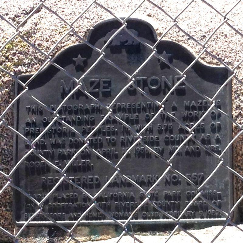NO. 557 HEMET MAZE STONE - State Plaque