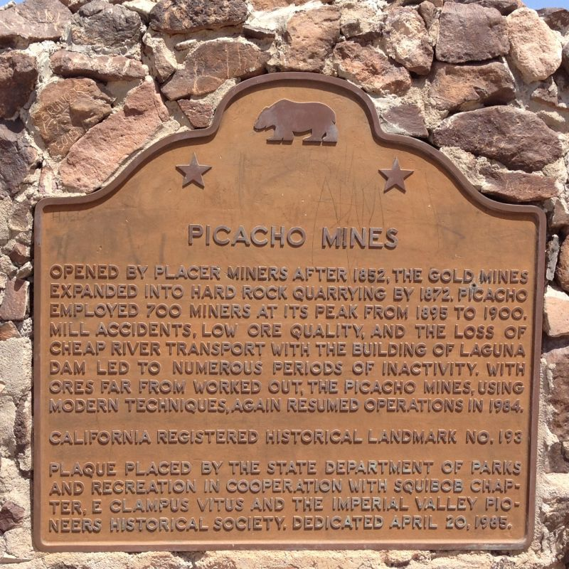 NO. 193 PICACHO MINES - State Plaque on the Road