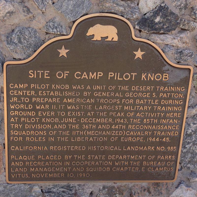 NO. 985 CAMP PILOT KNOB -  State Plaque