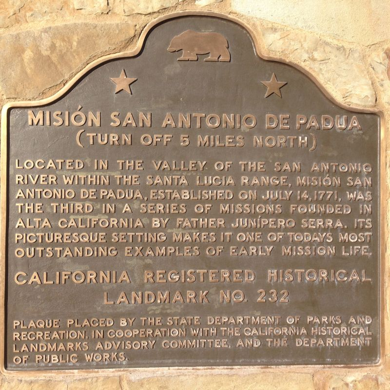 CHL No. 232 - Mission San Antonio de Padua - Second State Plaque