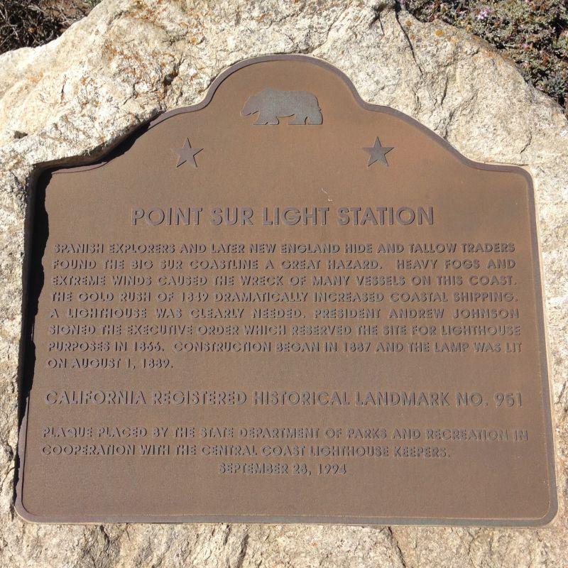 NO. 951 POINT SUR LIGHT STATION - State Plaque