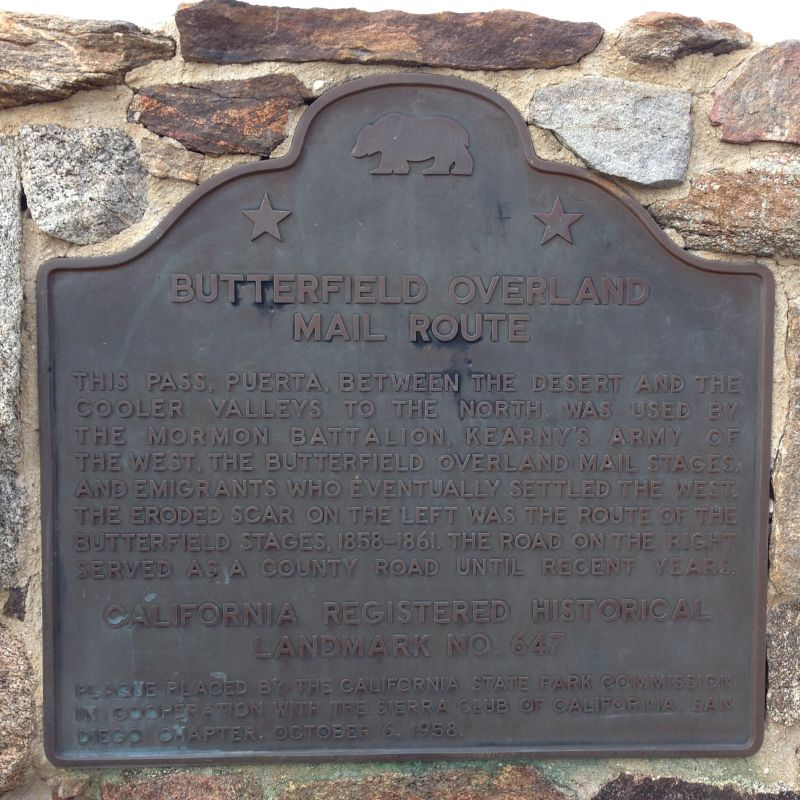 NO. 647 BUTTERFIELD OVERLAND MAIL ROUTE - State Plaque