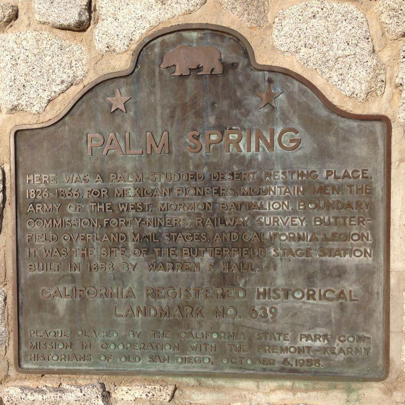 NO. 639 PALM SPRINGS - State Plaque