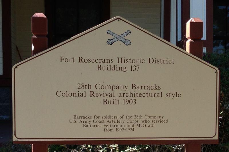 NO. 62 FORT ROSECRANS - Barracks 1903 Marker