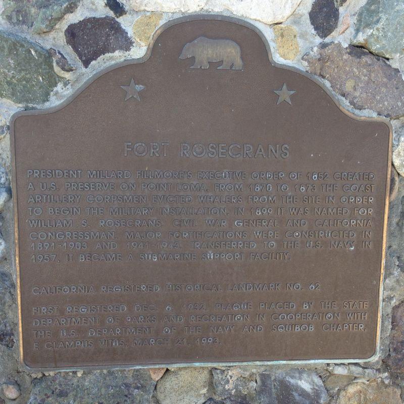 NO. 62 FORT ROSECRANS - State Plaque