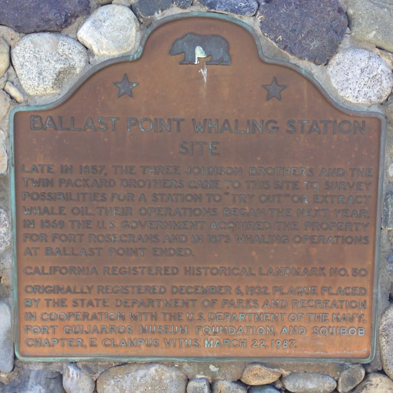 NO. 50 BALLAST POINT WHALING STATION SITE - State Plaque
