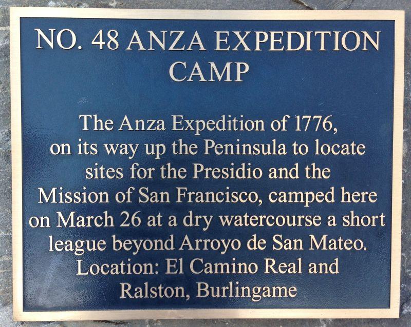 NO. 48 ANZA EXPEDITION CAMP - Plaque