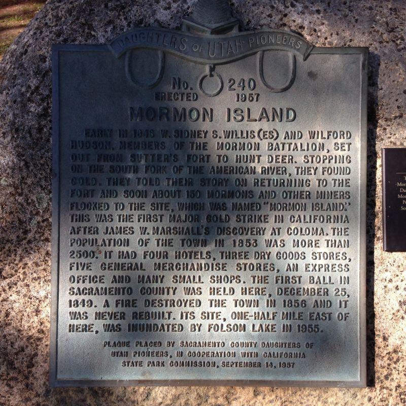 CHL #569 Mormon Island Plaque at Folsom Lake