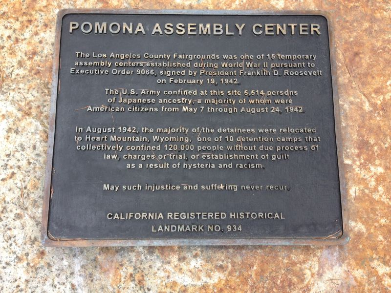CHL #934.05 - Temporary Detention Camp for Japanese Americans - Plaque