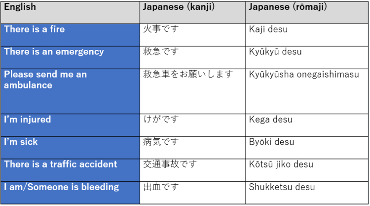 Useful Phrases for an Emergency in Japanese