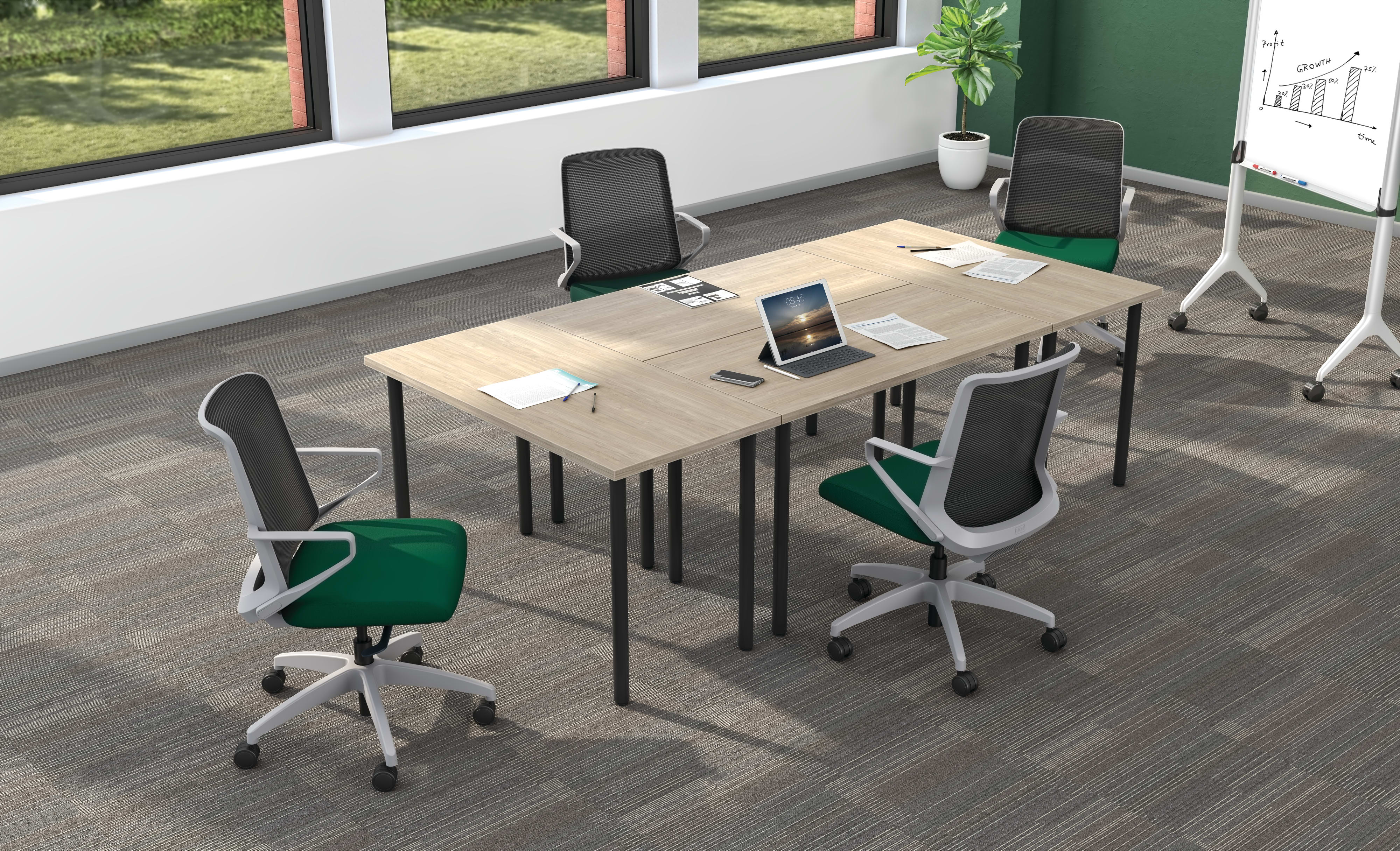 Huddle rectangle tables shown in Kingswood Walnut tops and Black legs with Cliq task seating.