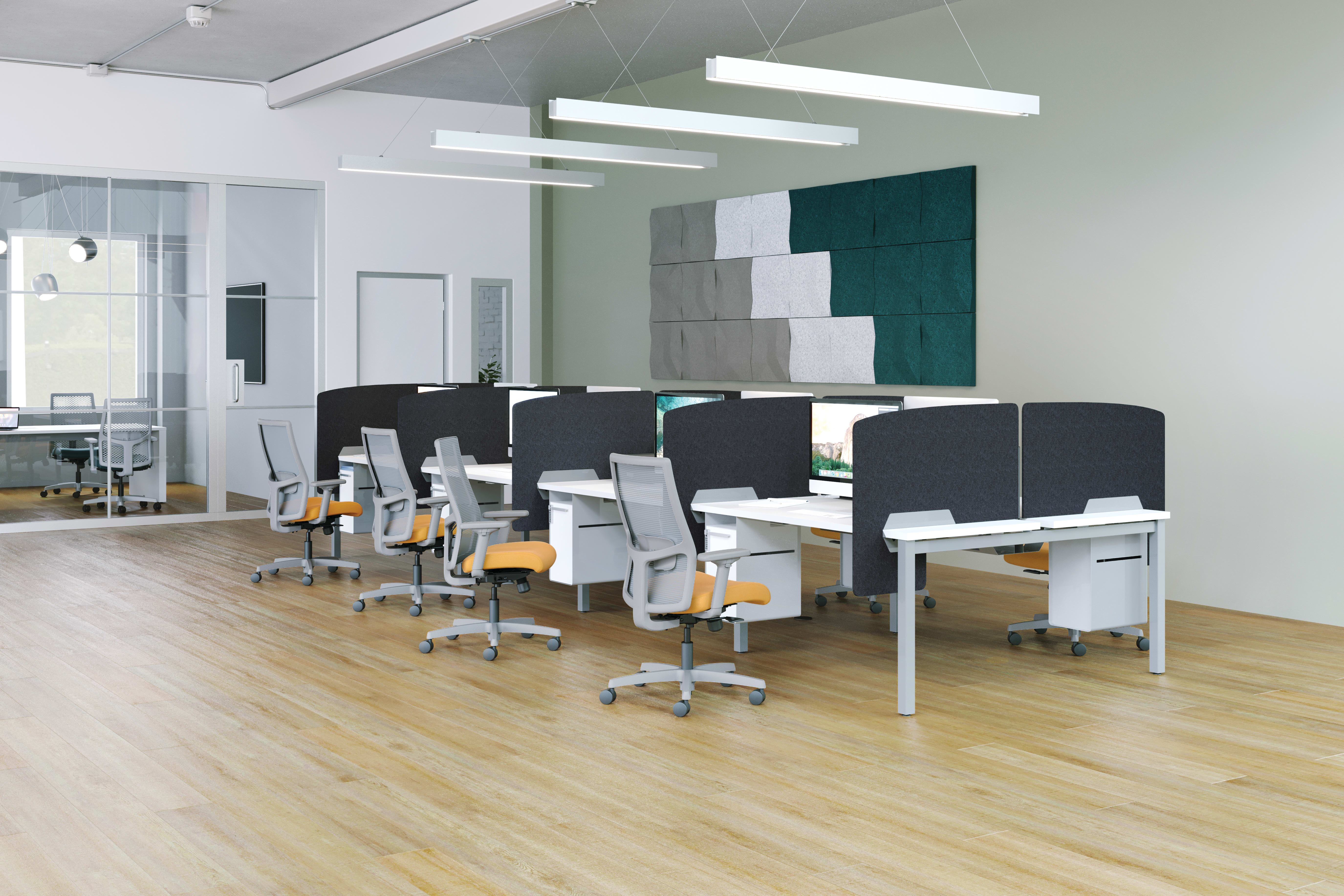 Ignition Chair, Empower Workstations, PET Screens, Acoustic Wall tiles, and Fuse Storage.