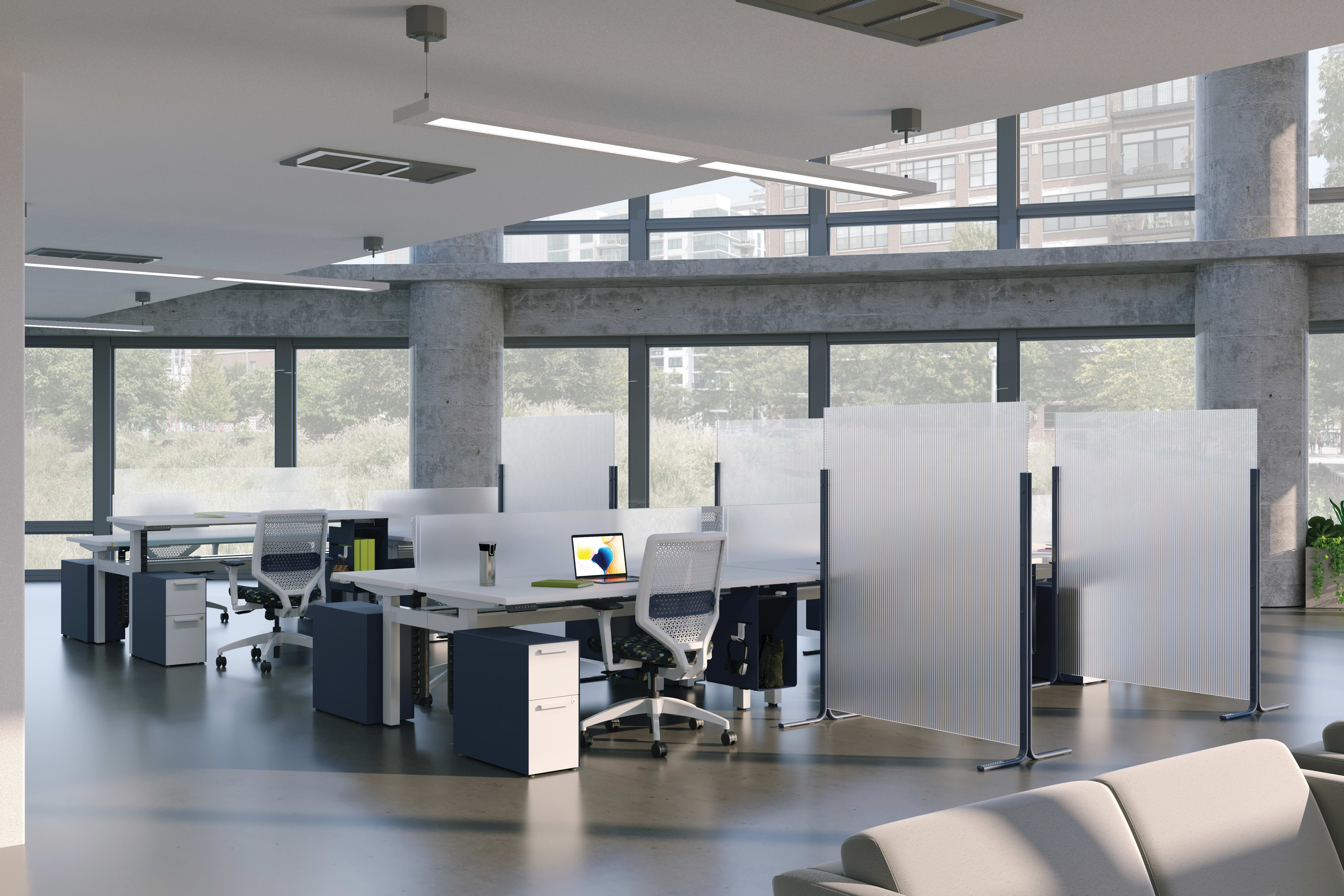 Solve chair and Fuse pedestal with Empower workstation  and Floor Screens.